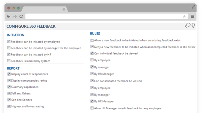 Configure 360 feedback method, report & rules