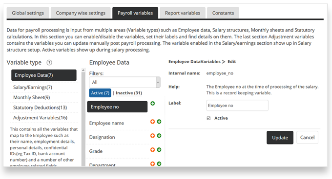 Configure HRIS payroll variables