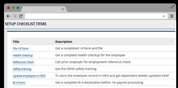 Create Onboarding Checklist HR software