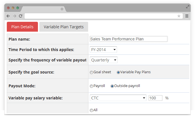 Create structure for variable pay plans