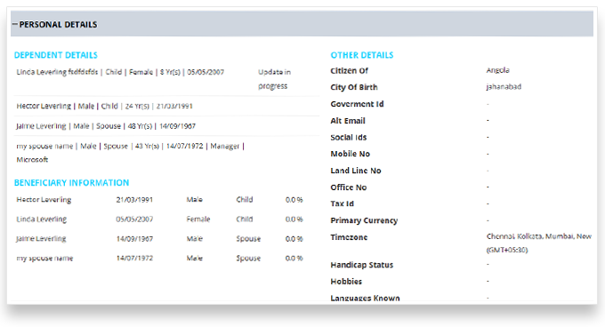 View and Edit Personal/Benefit Details   Self Services HR Software