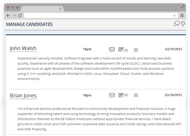 Manage candidates in applicant tracking
