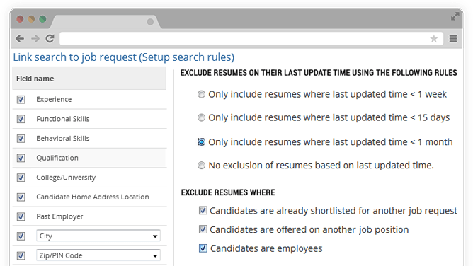 Search candidates automatically rules
