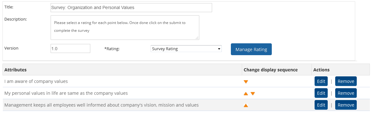 Manage custom employee survey