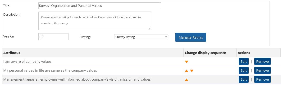 Manage custom employee survey