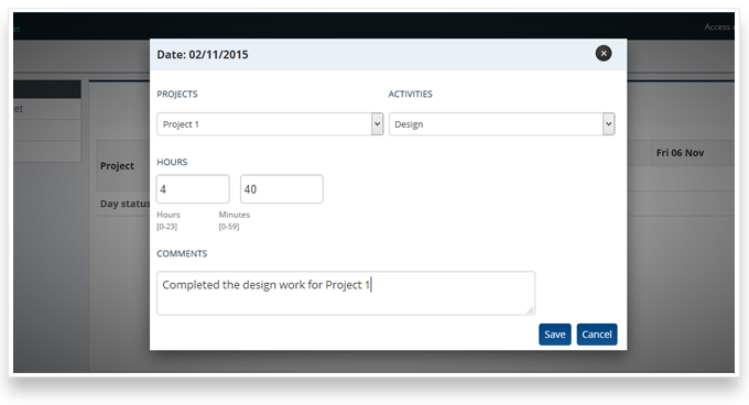 Capture time on project with timesheet management software